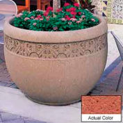 Wausau TF4229 Round Outdoor Planter - Weatherstone Brick Red 48x35