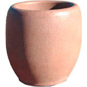 Wausau TF4351 Round Outdoor Planter - Smooth Stained Brick Red 24x26