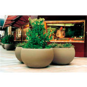 Wausau TF4353 Round Outdoor Planter - Smooth Stained Brown 42x24