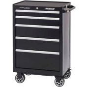 "Waterloo PCA-265BK Professional Series 5-Drawer Cabinet Ball-Bearing 26-1/2""W x 18""D x 41"", Black"