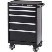 "Waterloo PCA-265BK Professional Series 5-Drawer Cabinet Ball-Bearing 26-1/2""W x 18""D x 41"", Black"