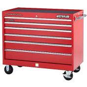 "Waterloo PCA-40524RD Professional HD Series 40"" Rolling Cabinet w/ 5 Full Width Drawers"