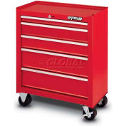 Waterloo SCA-26514RD-F Friction Slide 5-Drawer Cabinet - Red