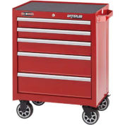"Waterloo WCA-265RD Waterloo Series 26-1/2""W X 18""D X 34-1/2""H 5 Drawer Red Roller Cabinet"