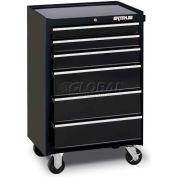 """Waterloo WCA-266BK Waterloo Series 26-1/2""""W X 18""""D X 40-3/4""""H 6 Drawer Black Roller Cabinet"""