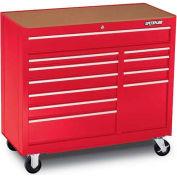 """Waterloo WCA-4111RD Waterloo Series 41""""W X 18""""D X 37-3/4""""H 11 Drawer Red Roller Cabinet"""