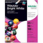 """Wausau Paper™ Card Stock Paper, 8-1/2"""" x 11"""", 65 lb, Smooth, Bright White, 100 Sheets/Pack"""