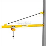 Gorbel® HD Wall Bracket Jib Crane, 24' Span & 200° Rotation, 6000 Lb Capacity