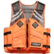 Flowt 41500-L/XL Commercial Comfort Mesh Deluxe Life Vest, Type III, Orange, Large/X-Large
