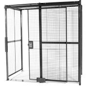 "840 Style, Woven Wire, 4 Sided Cage w/5' Sliding Door & Ceiling, 10' 4"" x 10' 4"" x 10' 5-1/4""H"
