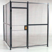 """RapidWire™ Welded Wire, 4 Sided Cage w/3' Hinged Door, No Ceiling 12' 6"""" x 12' 6"""" x 8' 5-1/4""""H"""