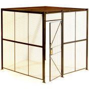 """840 Style, Woven Wire, 4 Sided Cage w/3' Hinged Door, No Ceiling 8' 4"""" x 8' 4"""" x 8' 5-1/4""""H"""