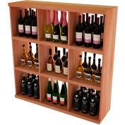 Bulk Storage, Stackable Wine Bottle Shelf, 9-Opening 4 Ft high - Mahogany, All-Heart Redwood