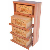 Bulk Storage, Pull Out Wine Bottle Cradle, 4-Drawer 4 Ft high - Mahogany, All-Heart Redwood