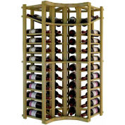 Individual Bottle Wine Rack - Curved Corner W/Top Display, 4 ft high - Walnut, Pine