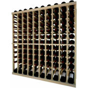 Individual Bottle Wine Rack - 10 Column W/Lower Display, 4 ft high - Unstained Pine