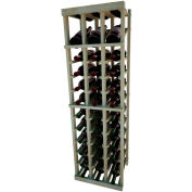 Individual Bottle Wine Rack - 3 Column W/Top Display, 4 ft high - Unstained Pine