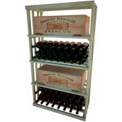 Bulk Storage, Wine Bottle Shelf, 4-Shelf, 4 Ft high - Unstained Pine