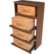 Bulk Storage, Pull Out Wine Bottle Cradle, 4-Drawer 4 Ft high - Walnut, Mahogany