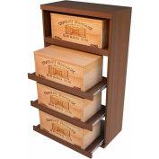 Bulk Storage, Pull Out Wine Bottle Cradle, 4-Drawer 4 Ft high - Light, Mahogany