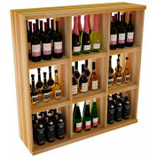 Bulk Storage, Stackable Wine Bottle Shelf, 9-Opening 4 Ft high - Walnut, Redwood
