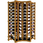 Individual Bottle Wine Rack - Curved Corner W/Lower Display, 4 ft high - Walnut, Redwood