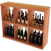 Bulk Storage, Stackable Wine Bottle Shelf, 6-Opening 3 Ft high - Mahogany, All-Heart Redwood