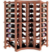 Individual Bottle Wine Rack - Curved Corner W/Lower Display, 3 ft high - Black, All-Heart Redwood
