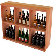 Bulk Storage, Stackable Wine Bottle Shelf, 6-Opening 3 Ft high - Unstained All-Heart Redwood