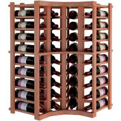 Individual Bottle Wine Rack - Curved Corner, 3 ft high - Unstained All-Heart Redwood
