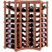 Individual Bottle Wine Rack - Curved Corner W/Top Display, 3 ft high - Unstained All-Heart Redwood