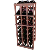 Individual Bottle Wine Rack - 3 Column W/Top Display, 3 ft high - Unstained All-Heart Redwood