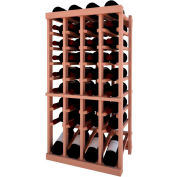 Individual Bottle Wine Rack - 4 Column W/Lower Display, 3 ft high - Unstained All-Heart Redwood