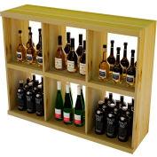 Bulk Storage, Stackable Wine Bottle Shelf, 6-Opening 3 Ft high - Light, Pine
