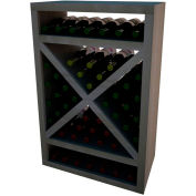 Diamond Solid Cube Wine Rack - w/Face Trim, 3 ft high - Unstained Mahogany