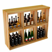 Bulk Storage, Stackable Wine Bottle Shelf, 6-Opening 3 Ft high - Mahogany, Redwood