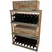 Bulk Storage, Wine Bottle Shelf, 3-Shelf, 3 Ft high - Unstained Redwood