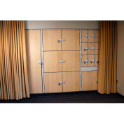 "UltraStor™, Wood Locker Cabinet, 27-1/2""W x 29-1/4""D x 85-5/8""H, 3 Compartments"