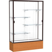 "Reliant Display Case Carmel Oak Base, Dark Bronze Frame, White Back 48""W x 72""H"