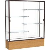 "Reliant Display Case Autumn Oak Base, Dark Bronze Frame, White Back 60""W x 72""H"