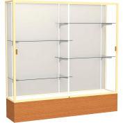 "Reliant Display Case Carmel Oak Base, Gold Frame, Fabric Back 72""W x 16""D x 72""H"