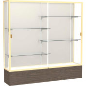 "Reliant Display Case Walnut Vinyl Base, Gold Frame, Fabric Back 72""W x 16""D x 72""H"