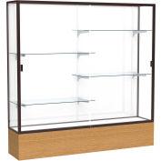 "Reliant Display Case Autumn Oak Base, Dark Bronze Frame, White Back 72""W x 72""H"