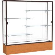 "Reliant Display Case Carmel Oak Base, Dark Bronze Frame, White Back 72""W x 72""H"