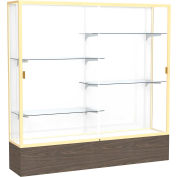 "Reliant Display Case Walnut Vinyl Base, Gold Frame, White Back 72""W x 16""D x 72""H"
