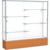 """Reliant Display Case Carmel Oak Base, Satin Frame, White Back 72""""W x 16""""D x 72""""H"""