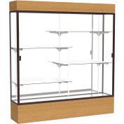 "Reliant Lighted Display Case 72""W x 80""H x 16""D Natural Oak Base Mirror Back Dark Bronze Frame"