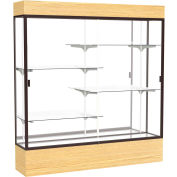 "Reliant Lighted Display Case 72""W x 80""H x 16""D Light Oak Base Mirror Back Dark Bronze Frame"