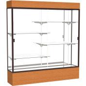 "Reliant Lighted Display Case 72""W x 80""H x 16""D Carmel Oak Base Mirror Back Dark Bronze Frame"