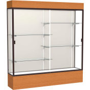 "Reliant Lighted Display Case 72""W x 80""H x 16""D Carmel Oak Base Plaque Back Dark Bronze Frame"